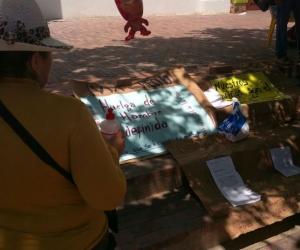 La mujer llegó a la plaza de la catedral con carteles y amenaza con encadenarse hasta que le den una solución.