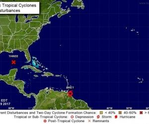 Mapa satelital del recorrido del ciclón Bret.