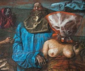 Las obras miden aproximadamente 48 cm x 56 cm cada una y están expuestas en el centro cultural Claustro San Juan Nepomuceno.