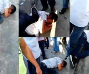 Imagen del momento en que golpean al presunto ladrón.