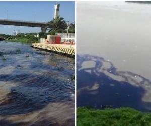 Manchas negras en el río Magdalena por derrame de hidrocarburos