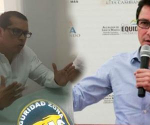 El abogado Julián García (izq) visitó Santa Marta para poner la cara y desmentir que hubiera visitado al paramilitar Yoyo Rojas.