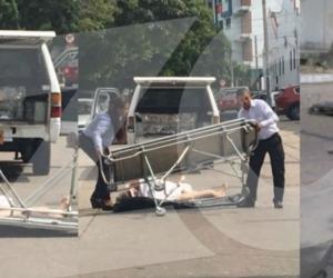 Imagen del momento de la caída del cuerpo.