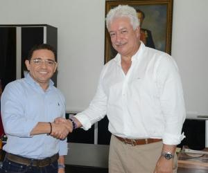 Rafael Martínez, alcalde de Santa Marta y Jorge Perdomo, presidente de Dimayor