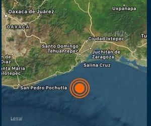 Terremoto de magnitud a 5.5 con epicentro a 56 km al sur de Salina. Cruz