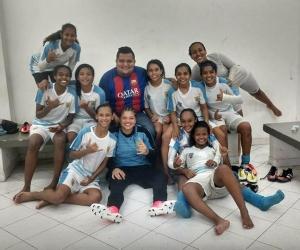 Independiente Santa Marta celebrando la clasificación a la siguiente fase
