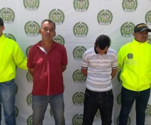 Los capturados Andrés Enrique Vélez Charris y Germán Buitrago.
