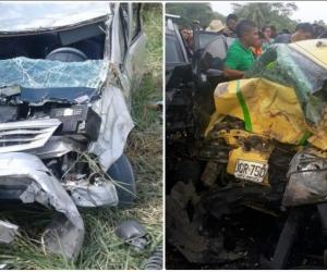 Carros involucrados en accidentes de familias samarias.