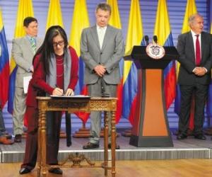Rueda de prensa donde anunciaron los nombres de los magistrados de la JEP.
