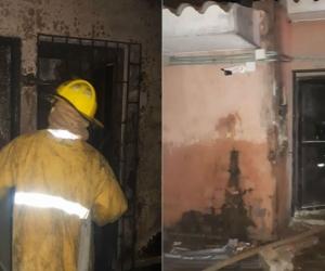 Personal de Bomberos atiende el incendio en la Fiscalía General de la Nación de menores de Riohacha.