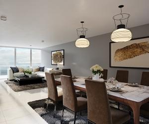 Diseño 3D de uno de los apartamentos del proyecto Punta Betín, ubicado en segunda línea de playa.