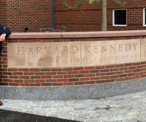 Juan Manuel Santos, en la sede de Harvard Kennedy School, en Cambridge, Massachusetts, Estados Unidos