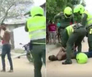 El hombre fue controlado por los Policías.