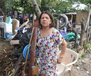 Cecilia Centeno, afectada en el barrio La Malvinas.