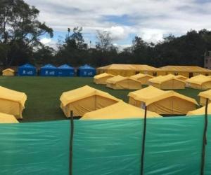 Campamento de venezolanos en Bogotá.