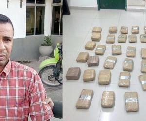 Luifran Arévalo Turizo, detenido con 20 'panelas' de marihuana.