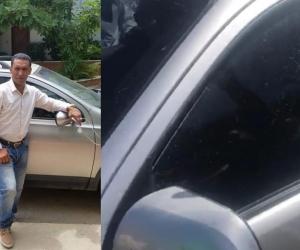 Iván Choles y los impactos de bala que recibió su camioneta.