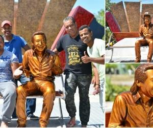 Así quedó la estatua 'Para Mi Fanaticada'.