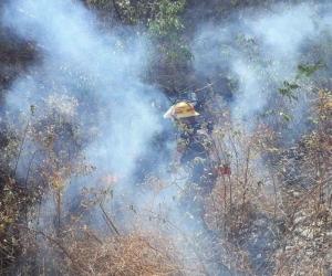 Incendio atendido por el Cuerpo de Bomberos.
