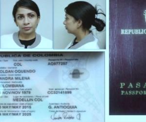 Documentos de Sandra Roldán, detenida en El Salvador.