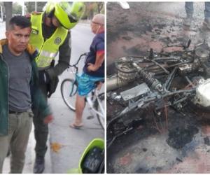 El hombre estuvo a punto de ser linchado; la moto fue incinerada.