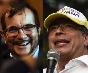 Rodrigo Londoño y Gustavo Petro.