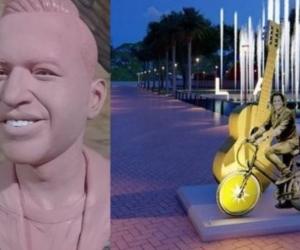 Estatua de Martín Elías y render de estatua de Carlos Vives.