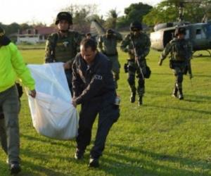 Ejército y CTI trasladaron el cuerpo de alias 'Grillo'.