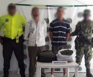 Sujetos capturados con marihuana en Aracataca.