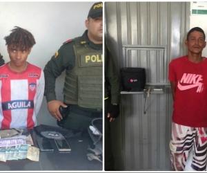 Sujetos capturados por la Policía en Santa Marta.