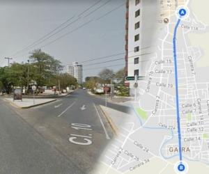 Tramo previsto de intervención de la vía de El Rodadero.