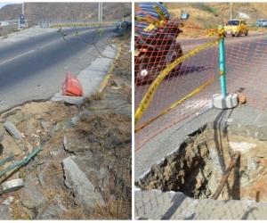 Imagenes que demuestran el estado actual de la vía.