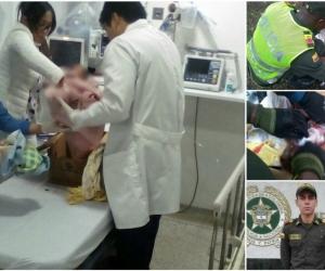Los policías auxiliares hallaron la niña y le brindaron los primeros auxilios.