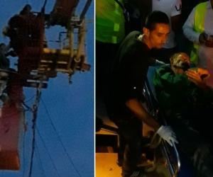 Momentos en que el sujeto fue rescatado por las autoridades.