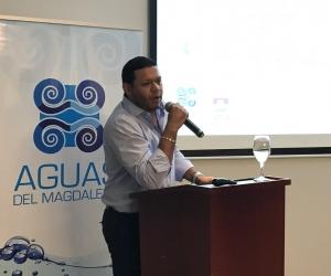 Ricardo Torres Benjumea, gerente de Aguas del Magdalena, durante la audiencia de rendición de cuentas.