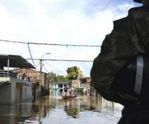 Zona afectada por la creciente del Río Cauca.