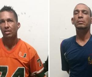 Los capturados Gillian José Vilarete y Juan Carlos Hernández.
