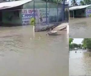 Aspecto de la inundación en el Cerrito, cerca a El Banco.