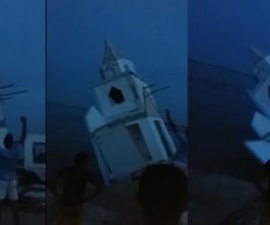 Momentos en que se produce el colapso del templo religioso.