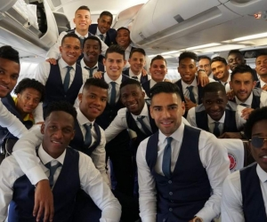 Jugadores de la Selección Colombia, en el avión rumbo a Rusia.