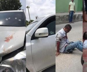 Los dos presuntos fleteos tras ser embestidos por la camioneta del comerciante.