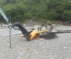 Así quedó el helicóptero en Toledo, Antioquia.