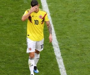 James Rodríguez al salir del partido.