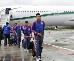 Los jugadores de la Selección Colombia en su llegada a la capital del país.