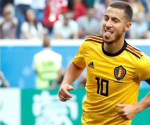 Eden Hazar celebrando el segundo gol de Bélgica.