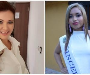 Lucy Cruz, presidente del Comité de Belleza de Sucre (izquierda) y Angie Macea Bolaño, señorita Sincelejo (derecha)