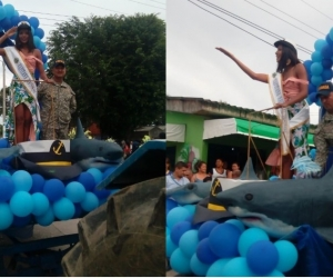 Kelly Puerta, durante el desfile en las playas de Tolú.