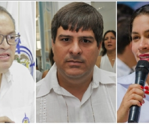 Fernando Carrillo (procurador, izquierda), Iván Saravia (concejal, centro), Ana María Muelle (exprocuradora, derecha).