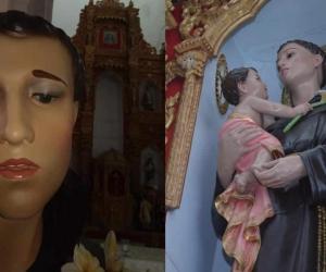 La imagen de San Antonio que fue alterada en Soledad.
