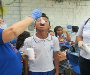 En las I.E.D. de La Paz, se desparasitaron 988 niños, en  Aeromar,  406 y en el I.E.D Jesús Espeleta Fajardo, 398, para un total de 1.792 estudiantes.